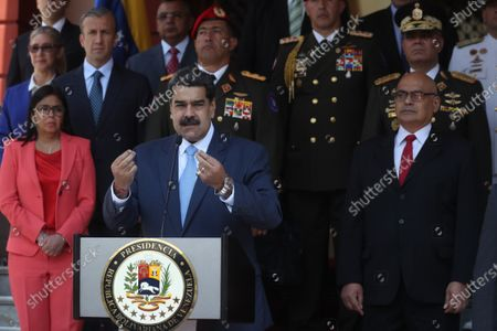 President of Venezuela, Nicolas Maduro (C), speaks during a press conference along with the First Lady Delcy Rodriguez (L) and the Communications Minister Jorge Rodriguez (R), in Caracas, Venezuela, 12 March 2020. Maduro announced this Thursday the suspension for a month of all flights from Europe and Colombia 'to add to the preventive processes at the international level' due to the coronavirus, which, he said, has not yet reached Venezuela.