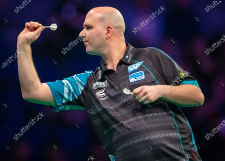 Stock Image of 12th March 2020; M and S Bank Arena, Liverpool, Merseyside, England; Professional Darts Corporation, Unibet Premier League Liverpool; Rob Cross during his night six match against Stephen Bunting