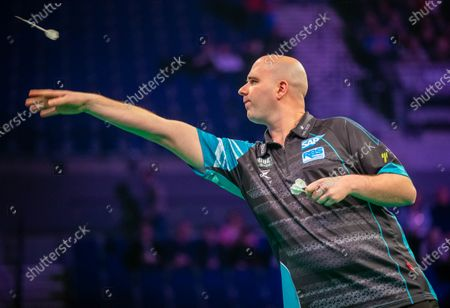 Stock Photo of 12th March 2020; M and S Bank Arena, Liverpool, Merseyside, England; Professional Darts Corporation, Unibet Premier League Liverpool; Rob Cross throws a dart
