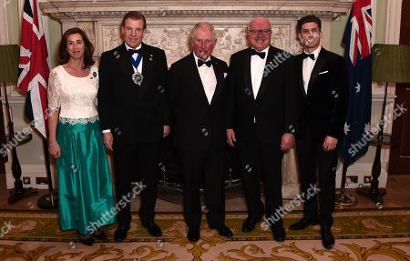 Prince Charles (C) poses with (L-R) Hilary Russell, the Lord Mayor of the City of London, William Russell, the High Commissioner for Australia, George Brandis and guest as they attend a dinner in aid of the Australian bushfire relief and recovery effort at Mansion House