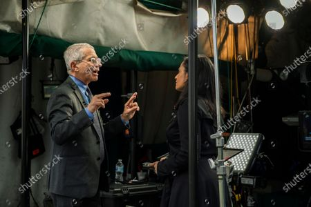 Director of the National Institute of Allergy and Infectious Diseases at the National Institutes of Health Dr. Anthony Fauci is interviewed by television journalist Kristen Welker of NBC News on the North Lawn at the White House, in Washington