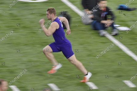 Clemson football player Chad Smith runs the 40-yard dash during NFL Pro Day, in Clemson, S.C