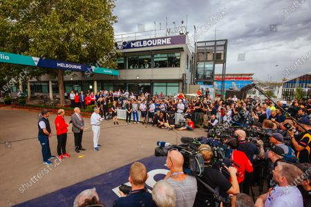 Melbourne, Australia - March 13 2020: A press conference from Chase Carey, Andrew Westacott, Michael Masi and Paul Little is held at Albert Park after the 2020 Formula 1 Australian Grand Prix is cancelled