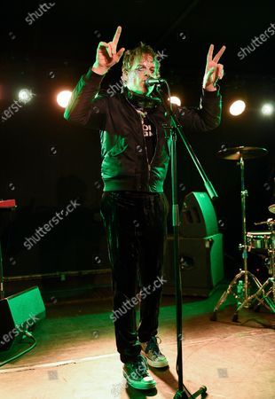 Stock Image of Actor and singer Michael C. Hall performs with his band Princess Goes To The Butterfly Museum at the Mercury Lounge, in New York