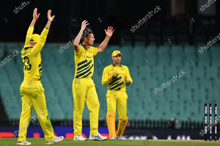 Stock Photo of Australia's Josh Hazlewood (C) is denied the wicket of New Zealand's Lockie Ferguson during game 1 of the men's One Day International (ODI) between Australia and New Zealand at the Sydney Cricket Ground (SCG) in Sydney, Australia, 13 March 2020. Cricket Australia decided to close all matches in the ODI series against New Zealand to spectators due to the ongoing coronavirus pandemic.