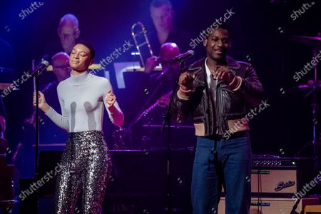 Brittni Jessie, left, and Leon Bridges perform at Love Rocks NYC!, a Benefit Concert for God's Love We Deliver at the Beacon Theatre on in New York