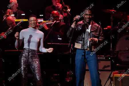 Stock Image of Brittni Jessie, left, and Leon Bridges performs at Love Rocks NYC!, a Benefit Concert for God's Love We Deliver at the Beacon Theatre on in New York