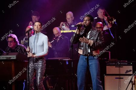 Brittni Jessie, left, and Leon Bridges performs at Love Rocks NYC!, a Benefit Concert for God's Love We Deliver at the Beacon Theatre on in New York
