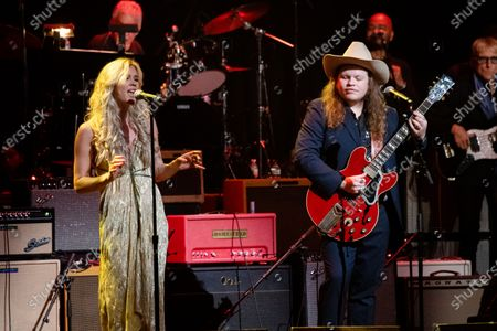 Joss Stone, left, and Marcus King perform at Love Rocks NYC!, a Benefit Concert for God's Love We Deliver at the Beacon Theatre on in New York
