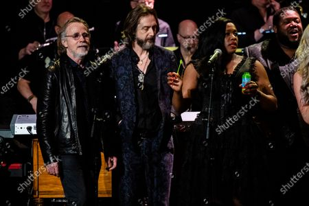 Stock Photo of Jackson Brown, from left, Chris Robinson, Tanya Blount-Trotter and Michael Trotter Jr. perform at Love Rocks NYC!, a Benefit Concert for God's Love We Deliver at the Beacon Theatre on in New York