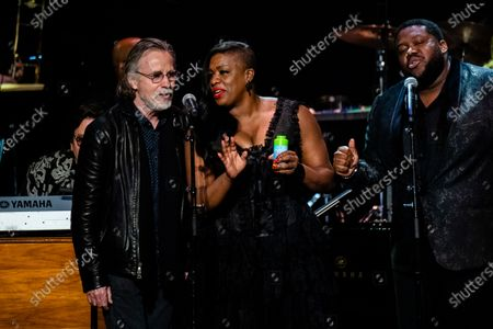 Jackson Browne, from left, Tanya Blount-Trotter and Michael Trotter Jr. perform at Love Rocks NYC!, a Benefit Concert for God's Love We Deliver at the Beacon Theatre on in New York