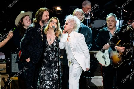 Marcus King, from left, Chris Robinson, Susan Tedeschi, Cyndi Lauper, Steve Allen, Jimmy Vaughan, and Jimmy Vivino perform at Love Rocks NYC!, a Benefit Concert for God's Love We Deliver at the Beacon Theatre on in New York