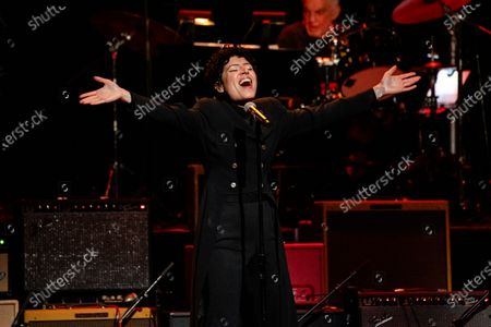 Stock Picture of Emily King performs at Love Rocks NYC!, a Benefit Concert for God's Love We Deliver at the Beacon Theatre on in New York