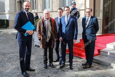 (L-R) French Prime Minister Edouard Philippe, immunologist Jean-Francois Delfraissy, French Health and Solidarity Minister Olivier Veran, French Interior Minister Christophe Castaner, and French Junior Interior Minister Laurent Nunez pose in the courtyard of the French Interior ministry as they attend a video meeting with French regions prefects on the COVID-19 coronavirus epidemic in Paris, France, 13 March 2020. The meeting is on the day after French President Macron said it was 'the worst health crisis in France in a century' as he ordered schools and universities closed 'until further notice'.