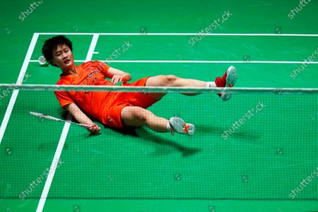 Stock Photo of Chen Yu Fei of China in action against Ratchanok Intanon of Thailand during their women's singles match at the Yonex All England Open Badminton Championships at Arena Birmingham in Birmingham, Britain, 13 March 2020.