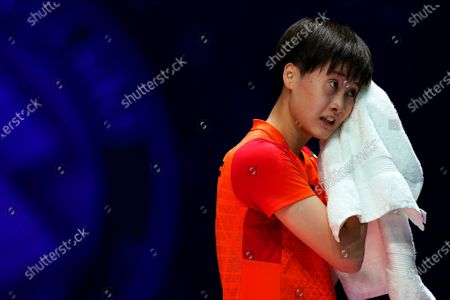 Chen Yu Fei of China reacts during her women's singles match against Ratchanok Intanon of Thailand at the Yonex All England Open Badminton Championships at Arena Birmingham in Birmingham, Britain, 13 March 2020.