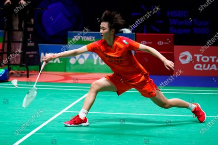Chen Yu Fei of China in action against Ratchanok Intanon of Thailand during their women's singles match at the Yonex All England Open Badminton Championships at Arena Birmingham in Birmingham, Britain, 13 March 2020.
