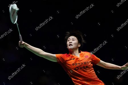 Stock Image of Chen Yu Fei of China in action against Ratchanok Intanon of Thailand during their women's singles match at the Yonex All England Open Badminton Championships at Arena Birmingham in Birmingham, Britain, 13 March 2020.