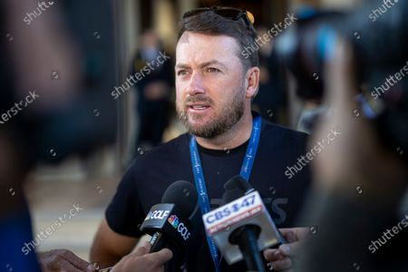 Graeme McDowell of Northern Ireland talks to journalists at the TPC Sawgrass Clubhouse after it was announced the remainder of THE PLAYERS Championship golf tournament has been cancelled due to the coronavirus COVID-19 pandemic in Ponte Vedra Beach, Florida, USA, 13 March 2020. The PGA Tour said all of its events through the Valero Texas Open in late March 2020 have been cancelled.