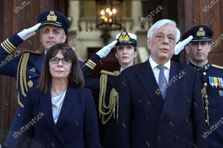 Editorial image of Newly sworn-in Greek President Katerina Sakellaropoulou during a handover ceremony at the Presidential Palace in Athens, Greece - 13 Mar 2020