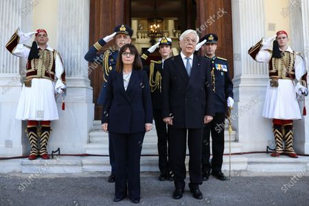 Editorial photo of Newly sworn-in Greek President Katerina Sakellaropoulou during a handover ceremony at the Presidential Palace in Athens, Greece - 13 Mar 2020
