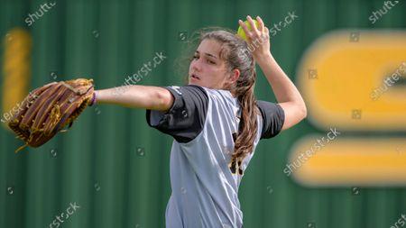 Appalachian State outfielder Mary Pierce Barnes throws during an NCAA softball game against Southeastern Louisiana, in Hammond, La