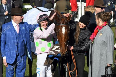 , Cheltenham, Monkfish with Paul Townend and owner Rich Ricci after winning the Albert Bartlett Novices Hurdle at Cheltenham racecourse, GB.