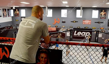 """Stock Photo of Greg Jackson, co-owner of Jackson Wink MMA Academy, stands above his training facility in Albuquerque, N.M. Jackson Wink MMA Academy, the storied mixed martial arts gym that has trained UFC light heavyweight champion Jon """"Bones"""" Jones, said, it's adjusting its training amid rising cases of the new coronavirus"""