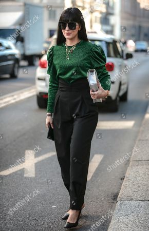 Editorial picture of Street Style, Fall Winter 2020, Milan Fashion Week, Italy - 22 Feb 2020