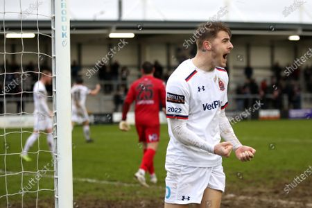 Tyler French of AFC Fylde celebrates victory at the end of the match