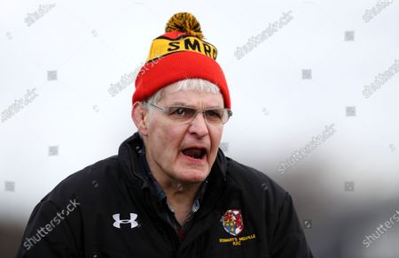 Stock Photo of Finlay Calder - ex Scotland and British Lions captain roars on his club side Stweart's Melville.