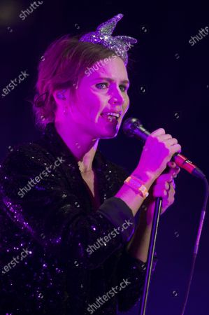 Nina Persson, vocalist of Cardigans rock band, performs during the Vive Latino music festival in Mexico City, . The two-day rock festival is one of the most important and longest running of Mexico
