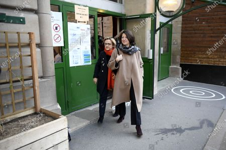 Paris mayoral candidate Agnes Buzyn (R) and Florence Berthout (L), mayor of the 5th district, leave a polling station during the first round of the French municipal elections in Paris, France, 15 March 2020. France is holding nationwide elections to choose all of its mayors and other local leaders despite a crackdown on public gatherings because of the new Covid-19 coronavirus. Several European countries have closed borders, schools as well as public facilities, and have cancelled most major sports and entertainment events in order to prevent the spread of the SARS-CoV-2 coronavirus causing the Covid-19 disease.