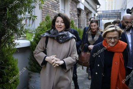 Paris mayoral candidate Agnes Buzyn (L) and Florence Berthout (R), mayor of the 5th district, leave a polling station during the first round of the French municipal elections in Paris, France, 15 March 2020. France is holding nationwide elections to choose all of its mayors and other local leaders despite a crackdown on public gatherings because of the new Covid-19 coronavirus. Several European countries have closed borders, schools as well as public facilities, and have cancelled most major sports and entertainment events in order to prevent the spread of the SARS-CoV-2 coronavirus causing the Covid-19 disease.