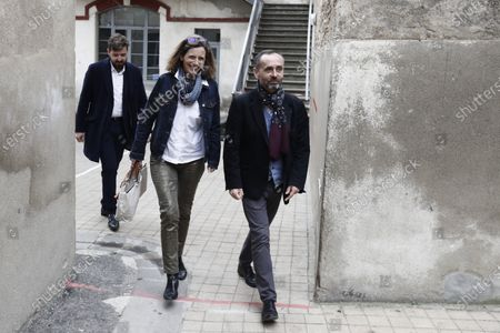 Former president of Reporters without borders and incumbent mayor of Beziers, Robert Menard (R) and his wife Emmanuelle Menard (L) leave the polling station after casting his ballot, during the first round of the French municipal elections in Beziers, France, 15 March 2020. France is holding nationwide elections to choose all of its mayors and other local leaders despite a crackdown on public gatherings because of the new Covid-19 coronavirus. Several European countries have closed borders, schools as well as public facilities, and have cancelled most major sports and entertainment events in order to prevent the spread of the SARS-CoV-2 coronavirus causing the Covid-19 disease.