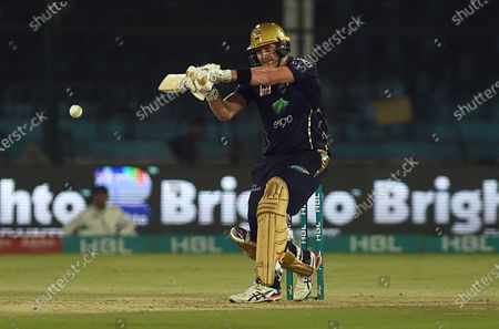 Stock Photo of Shane Watson of Quetta Gladiators plays a shot during the Pakistan Super League (PSL) T20 series match between Karachi Kings and Quetta Gladiators in Karachi, Pakistan, 15 March 2020.