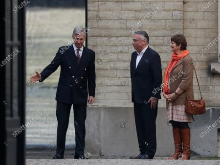 Senate chairwoman Sabine Laruelle (R) and Chamber chairman Patrick Dewael are welcomed by King Philippe of Belgium (L) ahead of their political consultations meeting at the Royal Palace in Brussels, Belgium, 16 March 2020. The meeting takes place for the formation of a new government after the 26 May's regional, federal and European elections. An agreement has been reached between ten parties to give majority support to the current federal government, which will be able to use special powers for a maximum of 6 months.