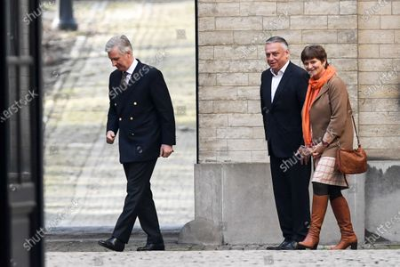 King Philippe welcomes Chamber chairman Patrick Dewael and Senate chairwoman Sabine Laruelle for a meeting at the Royal Palace regarding the formation of a new government