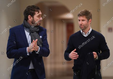 German Football Federation (DFB) general secretary Friedrich Curtius (L) and Thomas Hitzlsperger, CEO of VfB Stuttgart, arrive for a general assembly of the German Football League (Deutschen Fußball Liga / DFL) in Frankfurt, Germany 16 March 2020. Representatives of Germany's 36 clubs from the Bundesliga and 2nd Bundesliga are meeting at a Frankfurt airport hotel to decide on measures in the wake of the coronavirus pandemic. So far the DFL has suspended all games up until and including 02 April.