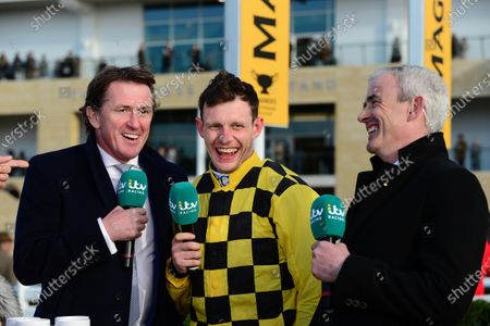 Cheltenham. PAUL TOWNEND interviewed by Tony McCoy and Ruby Walsh for ITV Racing after his 2nd Gold Cup win with AL BOUM PHOTO.