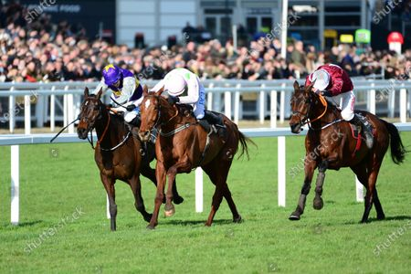 Cheltenham. Albert Bartlett Novices' Hurdle (Grade 1) MONKFISH and Paul Townend (centre) win for trainer Willie Mullins from LATEST EXHIBITION (far) and FURY ROAD.