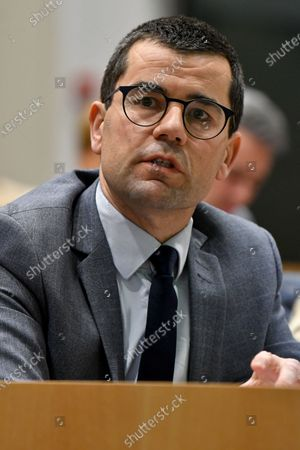 N-VA's Sander Loones pictured during a session of the budget and finance commission at the federal parliament in Brussels