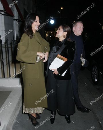 Stock Photo of Salma Hayek and Francois-Henri Pinault after dinner with friends at Oswald's restaurant, London.