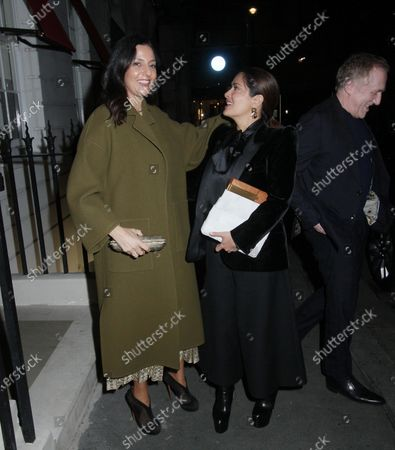 Salma Hayek and Francois-Henri Pinault after dinner with friends at Oswald's restaurant, London.