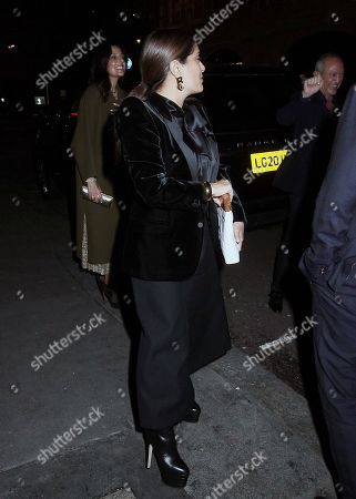 Stock Picture of Salma Hayek and Francois-Henri Pinault after dinner with friends at Oswald's restaurant, London.