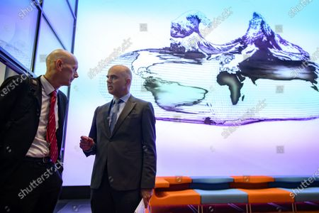 Daniel Koch, head of the Communicable Diseases Division at the Federal Office of Public Health, left, and Swiss Federal councillor Alain Berset, right, speaks after the media briefing about the latest measures to fight the Covid-19 Coronavirus pandemic, in Bern, Switzerland, 16 March 2020.