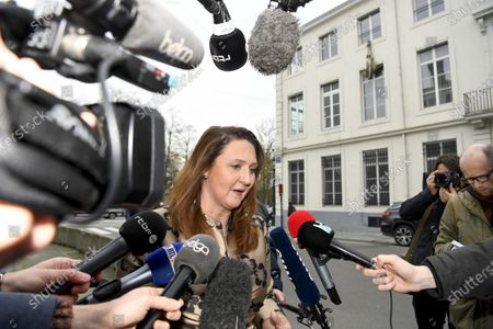Stock Image of Open Vld (Open Flemish Liberals and Democrats) chairwoman Gwendolyn Rutten arrives at a restricted Belgium ministers committee with the seven parties chairmen who support the minority government with full power in order to deal with the Corona virus - COVID-19 crisis and its consequences in Brussels, Belgium, 16 March 2020. The outlines of the special powers that have been granted to the executive as well as the working method for the coming weeks should be defined.