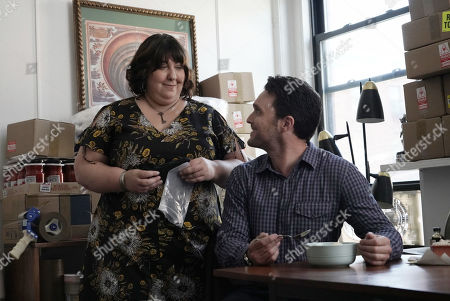 Ashlie Atkinson as April and Owain Yeoman as Benny Gallagher