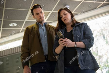 Stock Image of Owain Yeoman as Benny Gallagher and Allison Tolman as Jo Evans