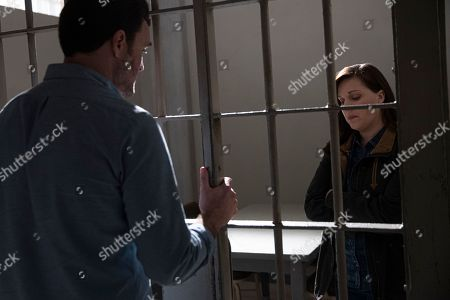 Stock Photo of Owain Yeoman as Benny Gallagher and Allison Tolman as Jo Evans